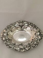 Black Starr & Frost Antique Oval Sterling Silver Bowl, Art Nouveau By Gorham