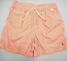 POLO RALPH LAUREN Men's Orange Polyester Swim Trunks w/Green Pony (L) NWT $70