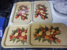 Set of 4 Vintage Tin Metal Serving Trays With Strawflowers