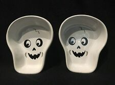 SET OF 2 Cute Halloween SKELETON HEAD Bakeware Dishes - Candy Dishes - Trinkets