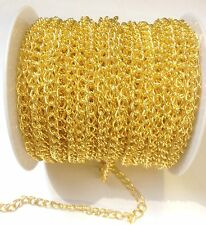 1 Metre x 4x6mm 1mm Thick Strong Gold Plated Chain