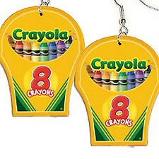 Funky Big CRAYOLA CRAYON BOX EARRINGS Art Drawing School Teacher Costume Jewelry