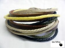 PUNK/ SURFER YELLOW, ARMY GREEN, BROWN ROPES ON BLACK LEATHER CUFF BRACELET