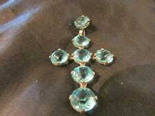 Stunning Edwardian Large Quality Silver & Blue Zircon/Aquamarine Paste Cross