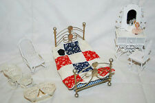VINTAGE MINIATURE DOLLHOUSE BEDROOM FURNITURE METAL BED CARRIAGE ROCKING CHAIR