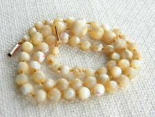 antique Mother of Pearl MOP beads necklace ROUND graduated ~ 9ct gold clasp~