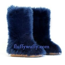 Original Fluffy Wuffies©  Indigo Blue sz 5 Faux Fur Boots