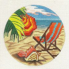 Day at the Beach w/ Umbrella, Tropical Palms HP Needlepoint Canvas A. Peterson