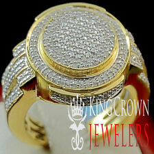 Round Cut Genuine Diamond Pave Mens Designer Pinky Band Ring Yellow Gold Finish