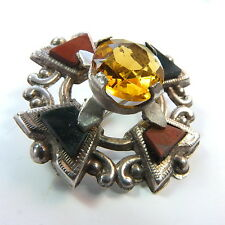 Antique Silver Scottish Agate Citrine Glass Pebble Brooch