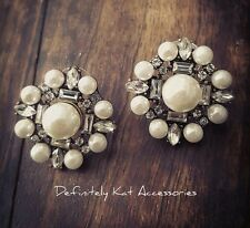 Stunning vintage style white crystal pearl large cluster statement stud earrings