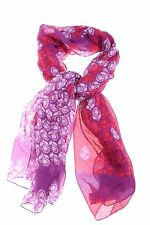 $145 Diane Von Furstenberg Floral Stamp Sheer Silk Pink Purple Wrap Scarf