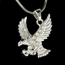 w Swarovski Crystal EAGLE American Bird Hawk Bird Pendant charm Necklace Jewelry