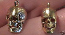 14k gold vintage detailed SKULL charm jaw moves