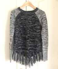 Hollister Women Sweater S Poncho Fringe Gray Black Texutred Long Sleeves New
