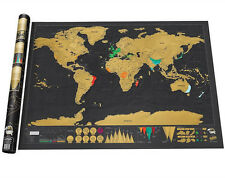Big Deluxe Travel Edition Scratch Off World Map Poster Personalized Journal Log