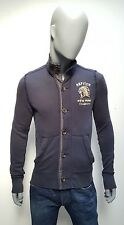 Men's Designer ABERCROMBIE & FITCH S/M Muscle Fit Navy Buttoned Fitted Cardigan