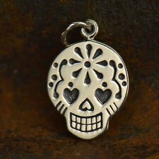 925 Sterling Silver Mexican Sugar Skull Skeleton Day of Dead Honor Family Charm