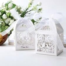 Hot 50 PCS Love Bird Laser Cut Candy Gift Boxes With Ribbon Wedding Party Favor