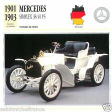 MERCEDES SIMPLEX 38/40 PS 1901 1903 CAR VOITURE GERMANY DEUTSCHLAND CARD FICHE