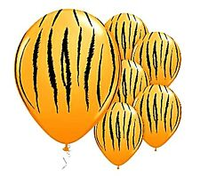 Tiger striped balloons x 6 Jungle Safari Zoo Animals Party Decoration
