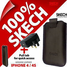 Skech Pouch Tire ficha Genuino Cuero Estuche Para iPhone 3GS 4 4S + USB Cargador de red