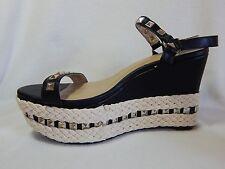 Torrid Platform Wedges 12 Studded Vegan Espadrille Black Ankle Strap Shoes Heels