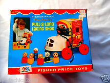 Vintage Fisher Price Little People Play Family Pull-a-Long Racing Shoe #146