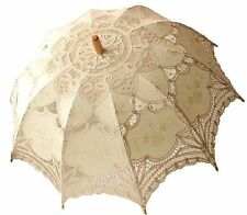 Parasol White Lace Cotton Wedding Victorian Bridal Cute Umbrella Handmade Beige