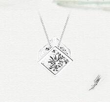 joyería collar colgante Cubo fina para mujer de plata del amor del Rhinestone