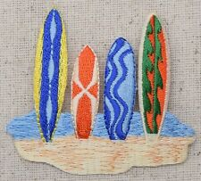 Iron-On Applique Embroidered Patch Tropical Beach Colorful Surfboards Surf Board