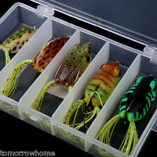 5pcs Soft Baits Frog Lure Bass Fishing Hooks Bait Tackle Topwater with Box