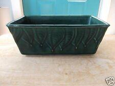 Green Vintage Leaf Design 451-USA Marked Art Pottery Rectangular Planter