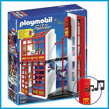 NEW PLAYMOBIL CITY ACTION FIRE STATION with TWO FIREMEN & ELECTRONIC ALARM 5361
