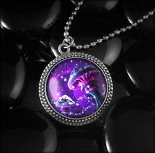 Magic Mushrooms Colorful Psychedelic Fantasy Silver Glass Pendant Necklace