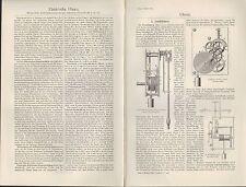 Lithografie 1910 Uhren. elektrische Uhren.