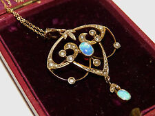 EARLY 20 CENTURY 9CT GOLD CABOCHON OPAL  & SPLIT PEARL PENDANT BROCH  & CHAIN