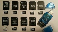 Lot of 10- 256MB Micro SD w/Adapters 100% Guaranteed +USB SD Card Reader/writer