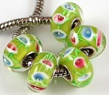 5pcs Lime Pink Aqua Big Hole Lampwork Glass Beads Fit European Charm Bracelet