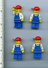 LEGO x 4 Minifig Overalls Blue over V-Neck Shirt, Blue Legs, Red Short Bill Cap