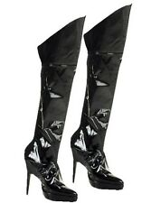 Black Wet Look Boot Covers Dominatrix S+M Kinky Sexy Fancy Dress Accessory