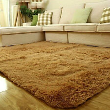 Fluffy Rugs Anti-Skid Home Dining Bedroom Carpet Rectangle Floor Mat Khaki