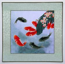 """Chinese embroidery painting fish koi 17x17"""" modern machine-made carp art"""