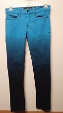 Hot Topic XXX RUDE Turquoise Blue Ombre Skinny Jeans Men's 30 x 32 Button Fly