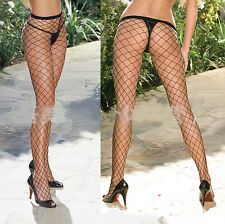 Women Sexy BLACK Lingerie  Stocking  LARGE NET Leg Legging Fishnet  UK SELLER