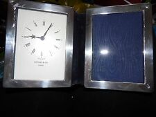 UNUSUAL FULLY HALLMARKED STERLING SILVER KITNEY & CO DESK CLOCK & PHOTO FRAME