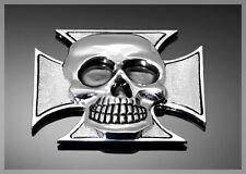 Emblème adhésif Métal Chrome tête de mort croix de malte GF moto custom harley