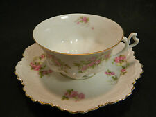 Vintage MZ Austria Bone China Embossed Rose Tea Cup & Saucer Excellent