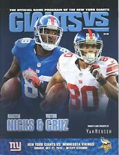 Minnesota Vikings New York Giants 10/21/13 NFL Program..Hakeem Nicks Victor Cruz
