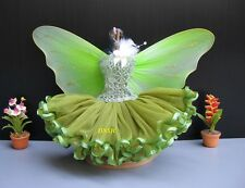 Fairy Green Butterfly Angel Outfit Handmade Costumes for Barbie, Dolls Clothes